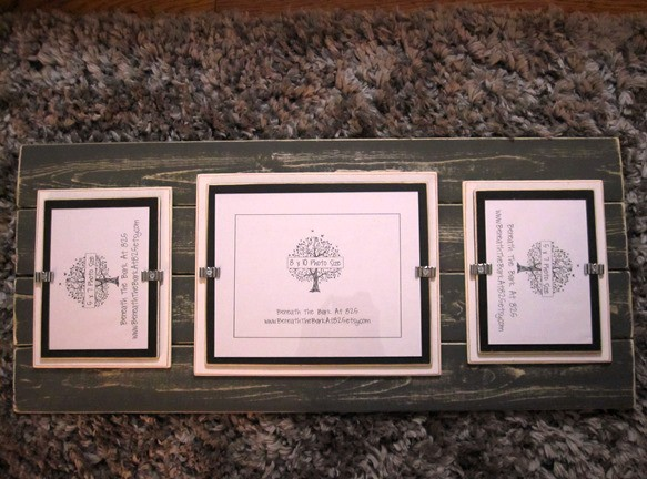 Three picture frame on distressed wood
