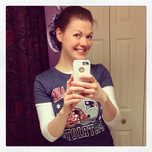 I almost never take selfies, but I was decked out in all my Patriot's pride gear and had to show my support!